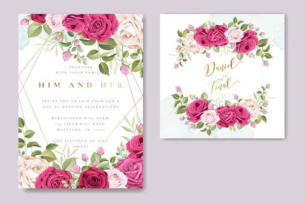 Mooie bruiloft uitnodigingskaart met kleurrijke rozen sjabloon Premium Vector