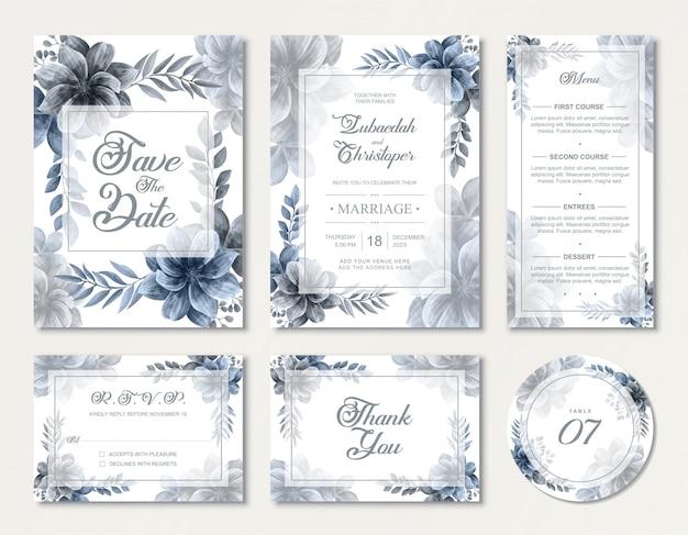 Mooie bruiloft uitnodigingskaart set met elegante blauwe aquarel bloemen rose bloemen Premium Vector