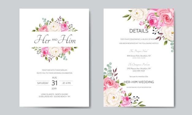 Mooie bruiloft uitnodigingskaartsjabloon met bloemenbladeren Premium Vector
