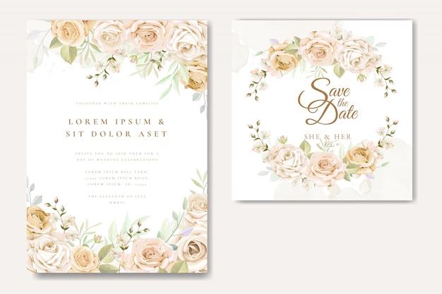 Mooie bruiloft uitnodigingskaartsjabloon met witte en gele rozen Premium Vector