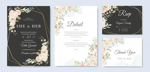 Mooie bruiloft uitnodigingskaartsjabloon Premium Vector