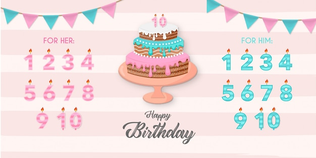 Mooie cake met verjaardagselementen Gratis Vector