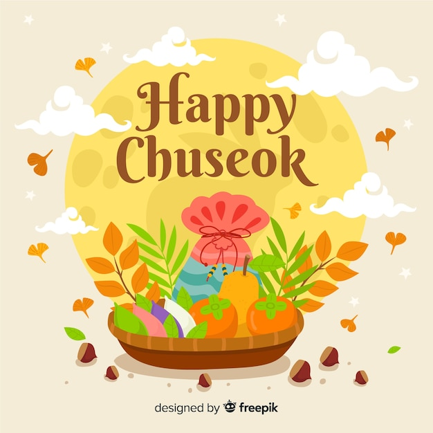 Mooie chuseok achtergrond in vlakke stijl Gratis Vector