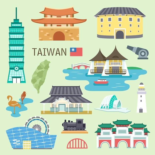 Mooie collectie taiwan attracties Premium Vector