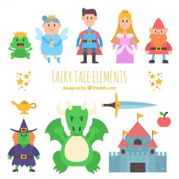 Mooie collectie van fantastische karakters Gratis Vector