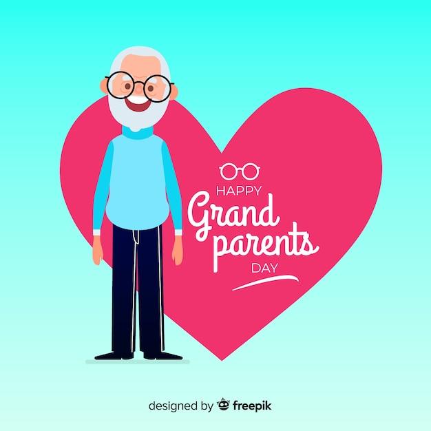 Mooie dag van de grootouders samenstelling met platte ontwerp Gratis Vector