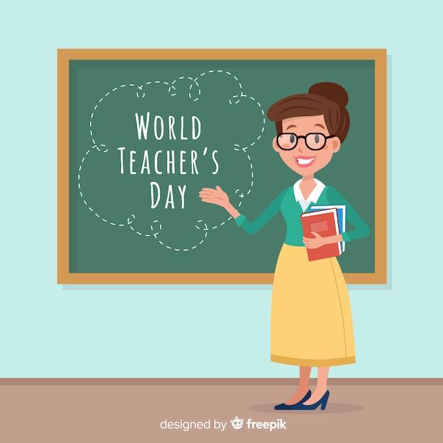 Mooie dag van de wereld leraren compositie met platte ontwerp Gratis Vector