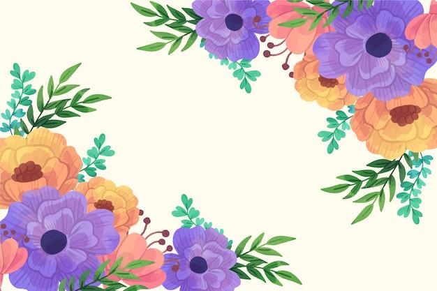 Mooie de lenteachtergrond van bloesem oranje en violette bloemen Gratis Vector