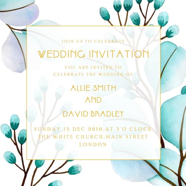 Mooie de uitnodigingskaart van het waterverf bloemenhuwelijk Premium Vector
