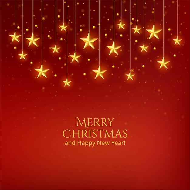 Mooie de vieringsachtergrond van kerstmis gouden sterren Gratis Vector