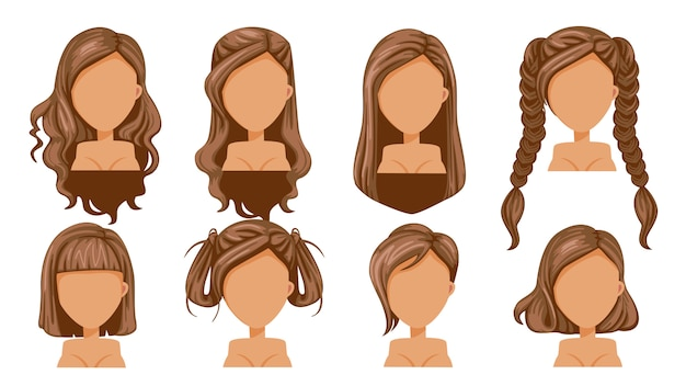 Mooie de vrouwen moderne manier van het kapsel bruine haar voor assortiment. Premium Vector