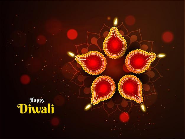 Mooie decoratie ter gelegenheid van diwali festival met verlichte olielampen (diya) Premium Vector
