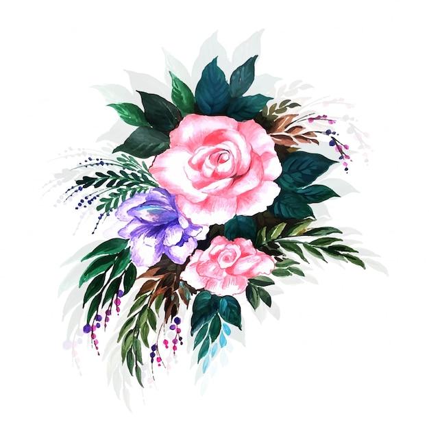Mooie decoratieve bloemachtergrond Gratis Vector