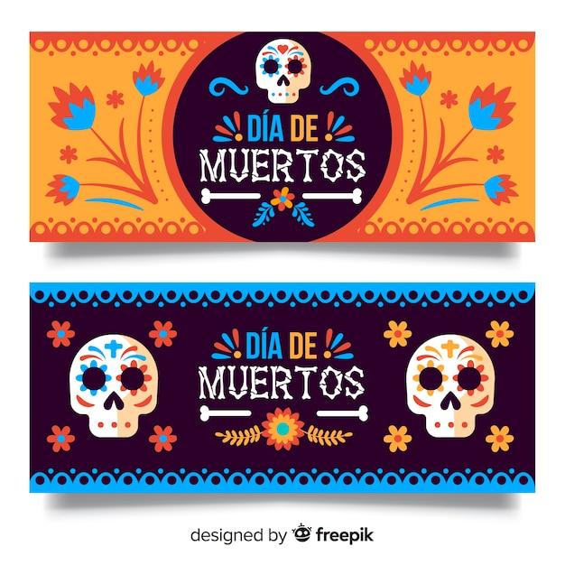 Mooie dia de muertos banners Gratis Vector