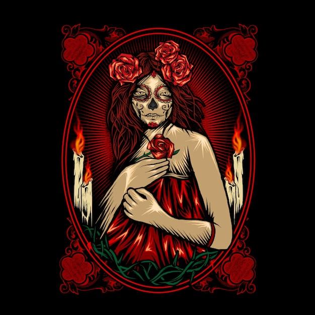 Mooie dia de muertos schedel Premium Vector