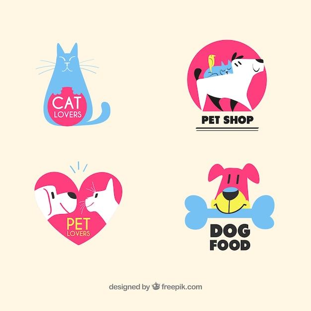 Mooie dierenwinkel logo collectie Gratis Vector