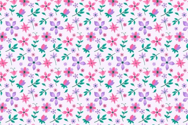 Mooie ditsy bloemenachtergrond Gratis Vector