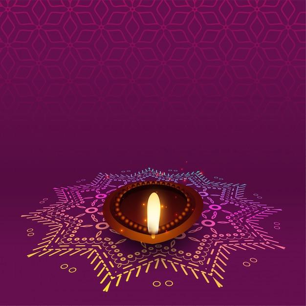 Mooie diwali diya met rangoli-ontwerp Gratis Vector