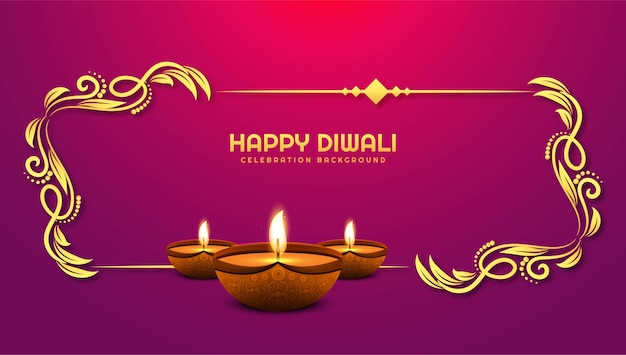 Mooie diwali festival vakantiekaart achtergrond Gratis Vector