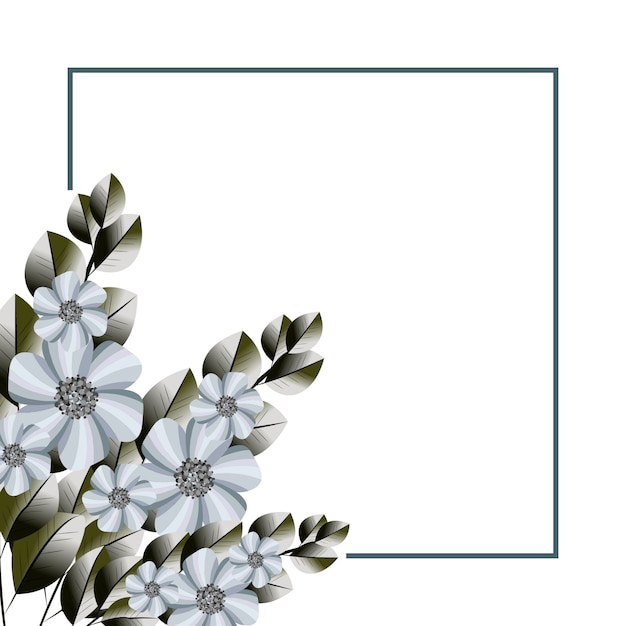 Mooie eenvoudige bloemenframe achtergrond Premium Vector