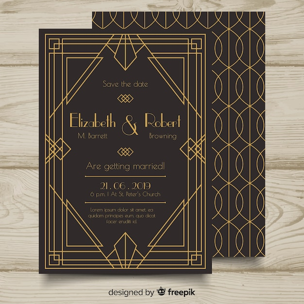 Mooie elegante bruiloft uitnodiging sjabloon in art decostijl Gratis Vector