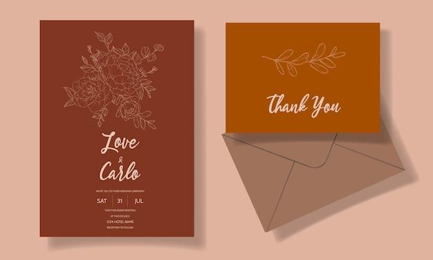Mooie en elegante bloemen bruiloft uitnodiging kaartsjabloon Gratis Vector