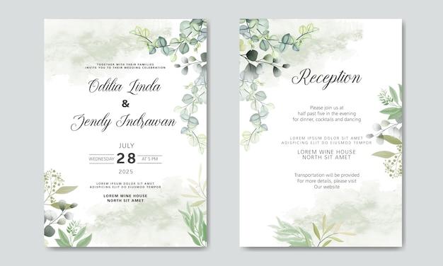 Mooie en elegante bloemenhuwelijksuitnodigingskaarten Premium Vector