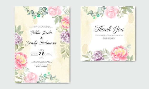 Mooie en elegante bruiloft uitnodigingskaarten met florale thema's Premium Vector