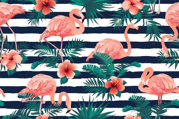 Mooie flamingo vogel tropische bloemen achtergrond Premium Vector