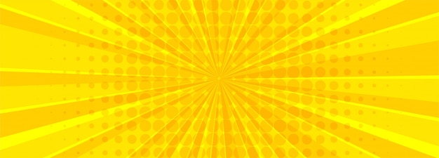 Mooie gele komische banner Gratis Vector