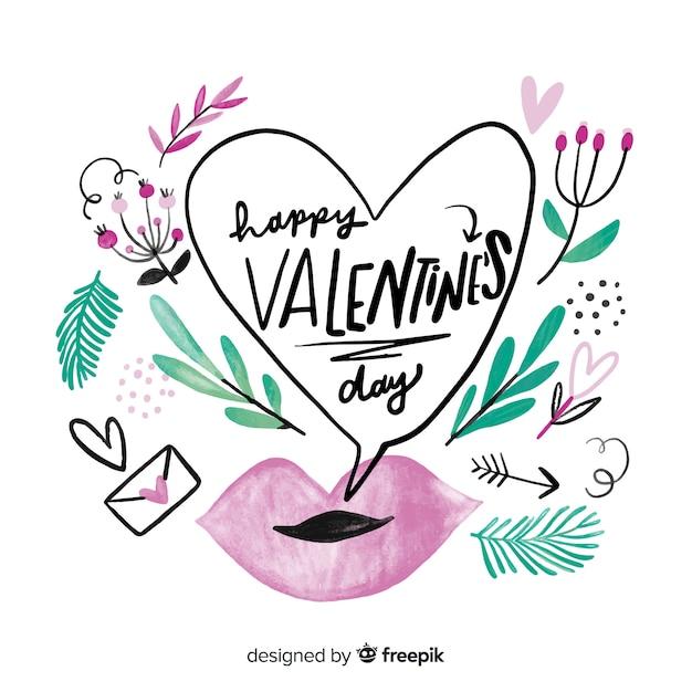Mooie gelukkig valentijn letters Gratis Vector