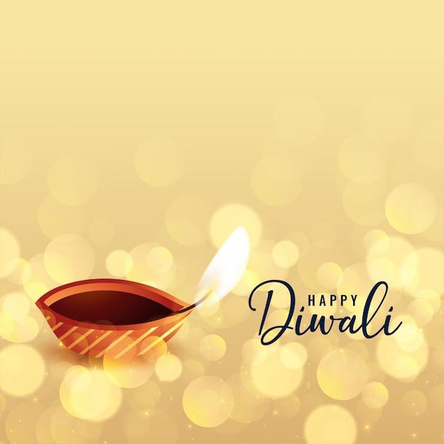 Mooie gelukkige diwali bokeh achtergrond met diya Gratis Vector