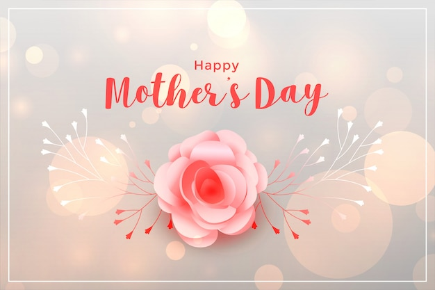 Mooie gelukkige moeders dag steeg kaart Gratis Vector