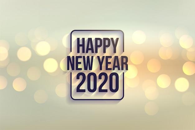 Mooie gelukkige nieuwe achtergrond van de jaar 2020 bokeh stijl Gratis Vector
