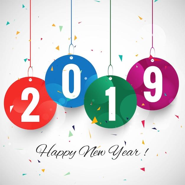 Mooie gelukkige nieuwe jaar 2019 tekst festival achtergrond Gratis Vector