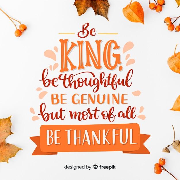 Mooie gelukkige thanksgiving belettering Gratis Vector