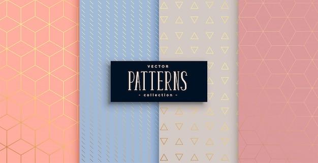 Mooie geometrische pastel en goud patroon ingesteld Gratis Vector