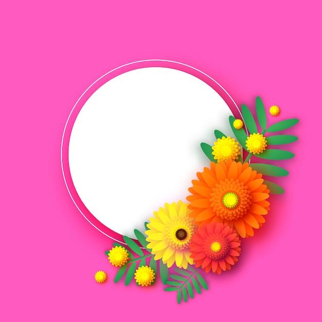 Mooie gerbera bloemen frame papercut stijl Premium Vector