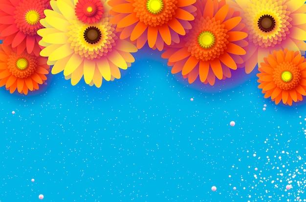 Mooie gerbera-bloemen papercut achtergrond Premium Vector