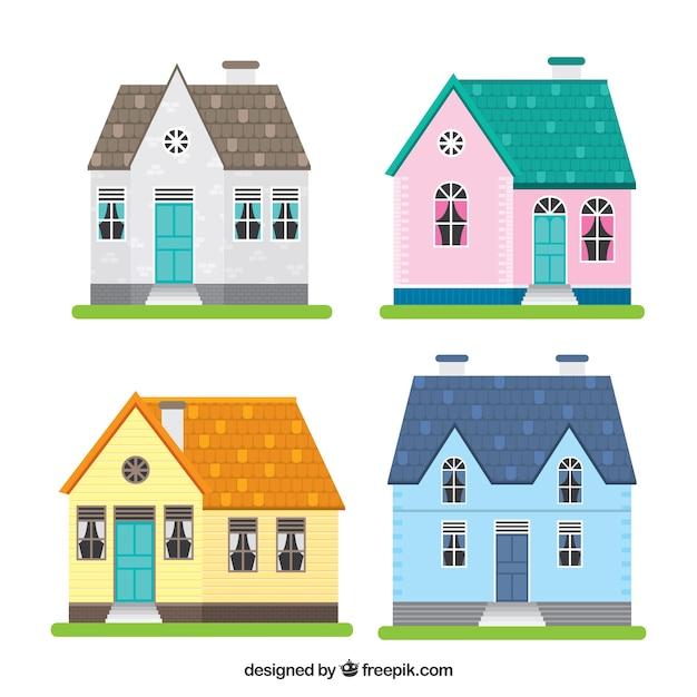 Mooie gevels van huizen vector gratis download - Gevels van hedendaagse huizen ...