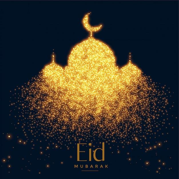 Mooie gloeiende moskee gemaakt met sparkles achtergrond Gratis Vector