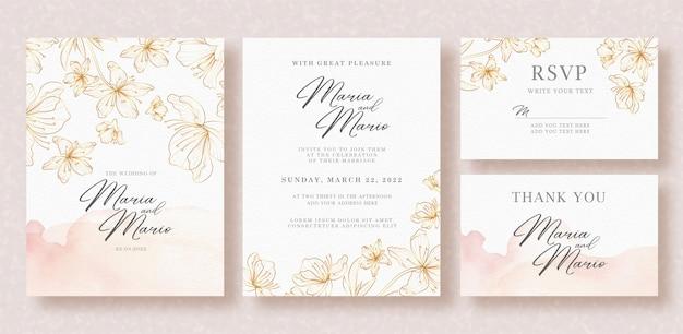 Mooie gouden bloemen lijntekeningen op bruiloft kaartsjabloon Premium Vector