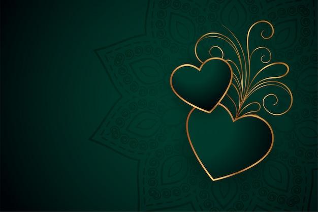 Mooie gouden harten met bloemenontwerpachtergrond Gratis Vector