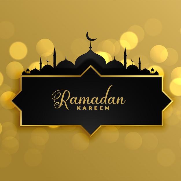 Mooie gouden ramadan kareem groet achtergrond Gratis Vector