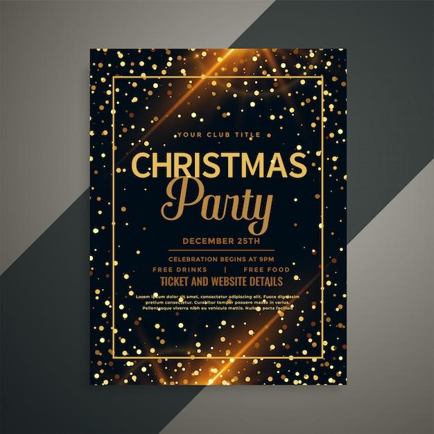 Mooie gouden sparkles christmas folder sjabloon Gratis Vector