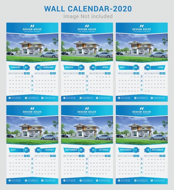 Mooie gradient wandkalender 2020 Premium Vector