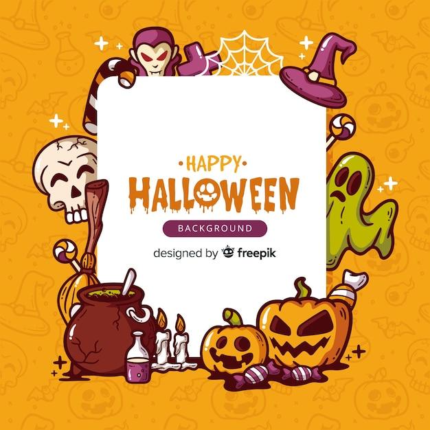 Mooie hand getekend halloween achtergrond Gratis Vector