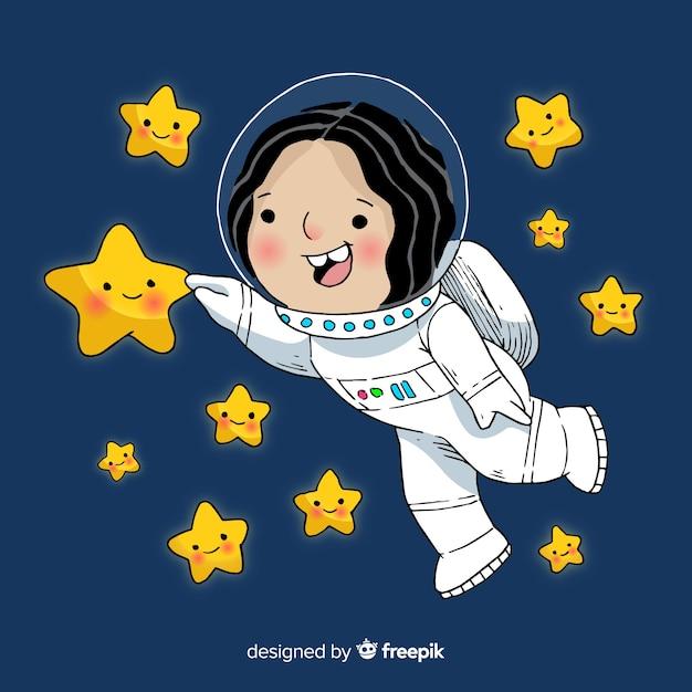 Mooie hand getrokken astronaut meisje karakter Gratis Vector
