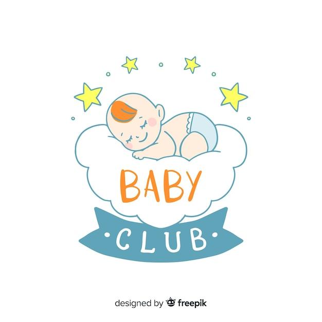 Mooie hand getrokken baby logo sjabloon Gratis Vector