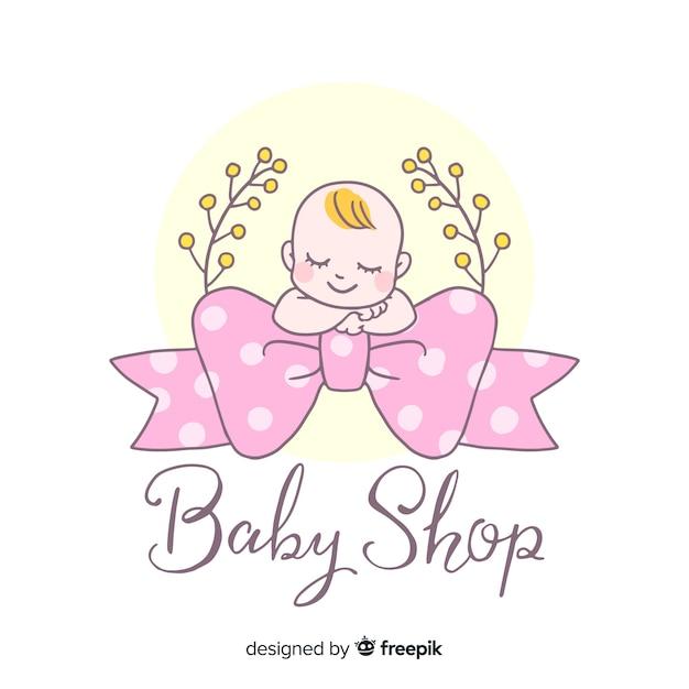 Mooie hand getrokken baby logo sjabloon Premium Vector